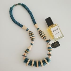 BOGO NWT handcrafted bone necklace turquoise cream